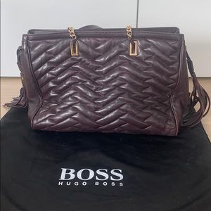 Hugo Boss Burgundy Leather purse with gold accents